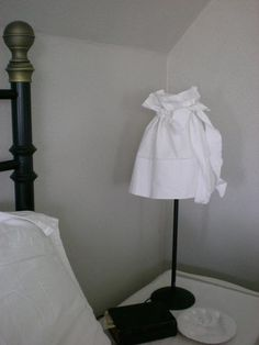Simple DIY Lampshade Cover Idea Whitewashed Chippy Shabby chic French country rustic Swedish decor