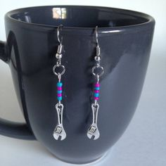 Wrench Earrings - Pink & Blue - Tibetan Silver - Dangle by BohemianHeartery on Etsy