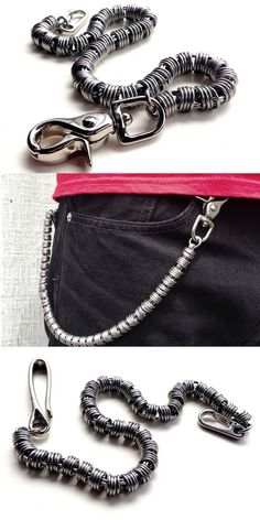 Stainless Steel Coil Wallet Chain by San Filippo Leather. Trigger Clasp or Hook.