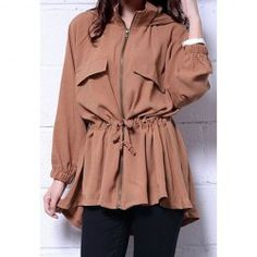 $16.05 Casual Style Hooded Neck Draw Cord Solid Color Ruffle Zipper Long Sleeve Coat For Women
