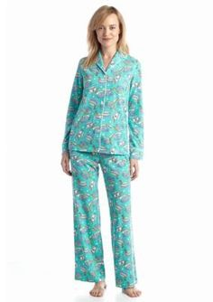 Kim Rogers  2 Piece Turq Latte Pajama Set