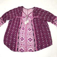 4e4f730ca03d7 Women s Plus Size Avenue Pink Purple Floral Peasant Boho Blouse Top