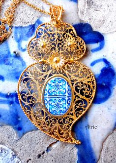 Portugal Sterling SILVER Filigree in 24k Gold Bath Heart by Atrio