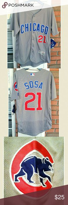 Men Majestic Chic.Cubs #21 Sammy Sosa Jersey Majestic Flexbase Authentic Grey Cubs jersey. Fabric provides flexibility, cooling, and comfort and is designed to maximize on-field performance. Size M. 100% polyester. Machine wash cold. Line dry only. NWT. Majestic Flexbase Shirts