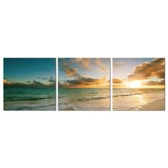 """Shop for Elementem Photography: """"Ocean Calm"""" Photography Print Panoramic Wall Art. Get free delivery On EVERYTHING* Overstock - Your Online Art Gallery Store! Triptych Wall Art, Mdf Frame, Ocean Themes, Sunset Photography, Digital Photography, Serenity, Beautiful Places, Lovely Things, Scenery"""