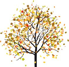 Autumn tree with falling leaves. Vector illustration.