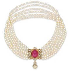 A six-strand natural pearl, carat Burma ruby and diamond necklace Ruby And Diamond Necklace, Ruby Necklace, Ruby Jewelry, Moon Necklace, Diamond Pendant Necklace, Diamond Jewelry, Beaded Necklace, Diamond Choker, Strand Necklace