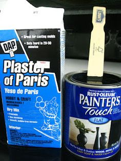 Chalkboard paint recipe: 2 tablespoons plaster of paris for every cup of flat black paint. This is handy! That stuff is expensive!