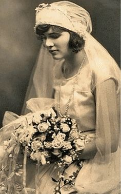 1920's Vintage Lady In Her Wedding Dress