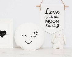 White Full moon baby cushion, space kids room, nursery cushion with cute embroidered face Stitch Patterns, Knitting Patterns, Crochet Patterns, Villa Design, Felt Ball Wreath, Crochet Capas, 1 Advent, Kid Spaces, Space Kids