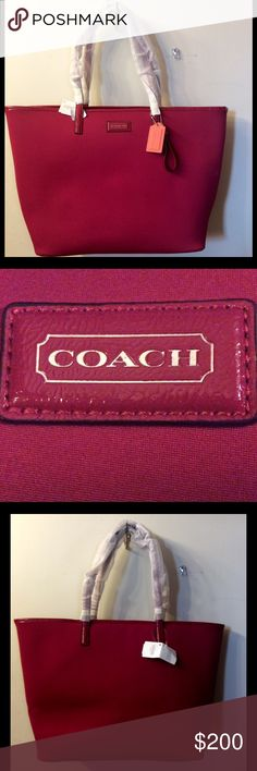 Coach Handbag New Coach Cranberry Handbag in excellent condition, never used! No damage or wear outside or inside of bag.   -100% Authentic Coach Signature  -Has original tag with Coach handbag information on it.   -MFSRP $248.00  -Does not have a zipper closure, but has a metal closure on each size   -Inside zip pocket is huge  -Another inside pocket to hold cell phone and other items  *Comes with Coach dust bag  *Comes from a smoke-free home Coach Bags Shoulder Bags