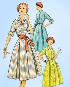 1950s Vintage Simplicity Sewing Pattern 2222 Uncut Misses Shirtwaist Dress 34 B