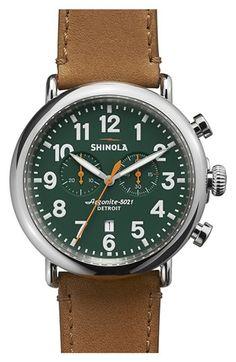 Shinola 'The Runwell Chrono' Leather Strap Watch, 47mm | Nordstrom