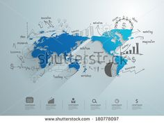 World map with creative drawing chart and graphs business success strategy plan idea, Business world concept modern design template workflow...