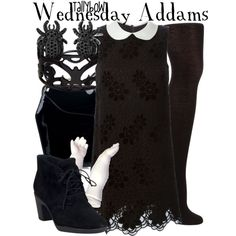 Wednesday Addams by tallybow on Polyvore featuring moda, Dolce&Gabbana, John Lewis, Clarks, Tatyana and Lisa August