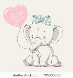 Cute elephant with balloon hand drawn vector illustration. Can be used for t-shi… Cute elephant with balloon hand drawn vector illustration. Can be used for t-shirt print, kids wear fashion design, baby shower invitation card. Baby Elephant Drawing, Elephant Art, Elephant Nursery, Cute Elephant Cartoon, Elephant Images, Cartoon Drawing For Kids, Cartoon Drawings, Cute Drawings, Illustration Mignonne