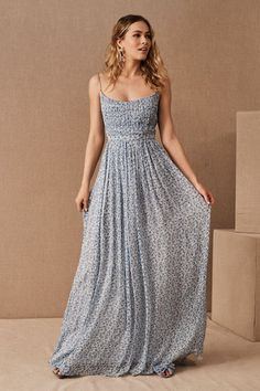 Delicate dusty blue florals and a soft scoop neckline make this effortless and flowy maxi dress refreshingly romantic. The finishing flourish? An airy matching cape! Bridal Party Dresses, Boho Wedding Dress, Wedding Flowers, Blue Dresses, Prom Dresses, Unique Dresses, Formal Dresses, Bridesmaid Dress Styles, Bridesmaids