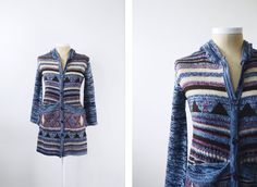 Blue Space Knit 1970s Long Cardigan  S/M by LoveCharles on Etsy, $48.00