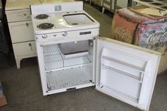 Inside Stove Icebox and sink also!!! vintage combo!!!