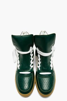 KRISVANASSCHE Green Leather Overlong Laces High-Top Sneakers