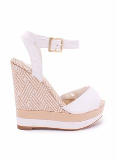 Tan and white patterned wedge.