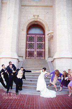Tug o war Salt Lake LDS Temple Purple Wedding by Emily Heizer Photography