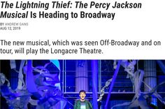 The new musical, which was seen Off-Broadway and on tour, will play the Longacre Theatre. Percy Jackson Cast, Percy Jackson Musical, Percy Jackson Fandom, The Lightning Thief Musical, Lost In The Woods, Harry Potter Love, Heroes Of Olympus, Rick Riordan, Olympians