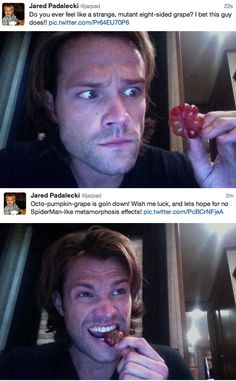 Hahahaha! Omg, he's such a dork...and the second picture, I may be slightly in love with his HAIR! :)