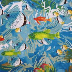 Latest Designer Fabric 'Aquaria Fabric in pale blue' by Alexander Henry (USA). Buy online or visti our fabric retail store in Christchurch. Alexander Henry, Fabric Design, Printing On Fabric, Aquarium, Retail, Fabrics, Prints, Usa