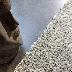Tapis laine feutrée tissé main beige influence ligne pure 140x200 - Tapis Cosy