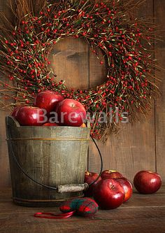 """Wood bucket of apples for the holidays"" - Autumn posters and prints available at Barewalls.com"