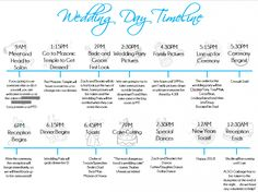 Wedding Day Timeline Template | DIY - definitely going to use this ...