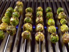 Grilled Brussels Sprouts--- watch on bbq b/c 10 minutes on a hot bbq too long! so good my kiddos eat them.