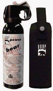 UDAP's Premuim Bear Spray with Hip Holster 7.9oz./ 225g by Udap. $42.95. Premuim Holster with Strap and Snap Included.  Same Formula for over 10 years.  High volume spray when you need it most.   Cannot take on commercial airlines.