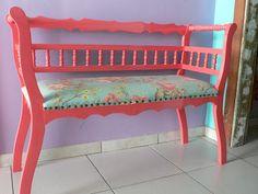 Ateliando - Customização de móveis antigos: Namoradeira e mesa de centro Ateliando