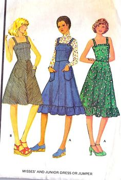 1970s teen fashion sewing pattern illustrations.