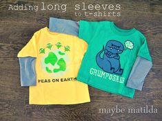 Kanske man kan ta ärmarna från en annan långärmad t-shirt som fått fläck på magen?  Maybe Matilda: Adding Long Sleeves to Short Sleeve Shirts