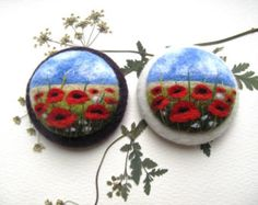 Felted landscapes, Poppy flower brooch, Needle felted brooch with embroidery, Wool felt brooch, Felted jewelry, Gift ideas,For her,