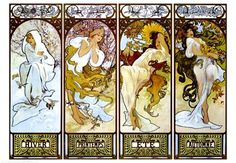 The Four Seasons by Alphonse Mucha, Art Print