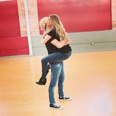 Riker Lynch and Allison Holker! #TeamRallison  When she randomly jumped onto him like a koala in their first live stream XD