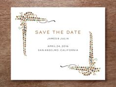 Save the Date Template - 'Vine' design perfect for a fall or autumn wedding