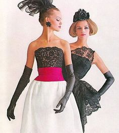 Marola Witt and Iris Bianchi wearing cocktail dresses by Luis Estevez, photographed by Melvin Sokolsky for Harper's Bazaar, 1961.