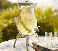 PB Classic Outdoor (acrylic) 2 1/4 gal. Drink Dispenser #potterybarn. Can use with stands