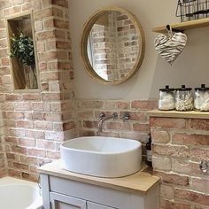 Here's What I Know About Faux Brick Wall Bathroom decoryourhomes com is part of Oak shelves - Faux Brick Walls, Oak Shelves, Bathroom Cleaning, Beautiful Bathrooms, Small Bathroom, Brick Bathroom, Oak Bathroom, Bathroom Interior, Bathroom Inspiration