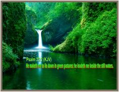 """""""CHRIST GIVES REST FROM LIFE'S STRUGGLES""""  Psalms  23:2 He maketh me to lie down in green pastures: he leadeth me beside the still waters."""