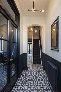 15 Stairway Lighting Ideas For Modern And Contemporary Interiors Most Popular Light for Stairways Tiled Hallway, Dark Hallway, Hallway Flooring, Flooring Tiles, Hall Tiles, Victorian Hallway Tiles, Hallway Paint, Wainscoting Hallway, Dado Rail Hallway