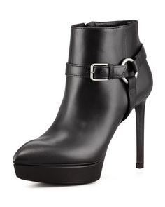 Leather Platform Harness Bootie by Saint Laurent at Neiman Marcus.