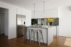 KITCHEN INSPO: Caesarstone Sleek Concrete Benchtop in 20mm with waterfall edge