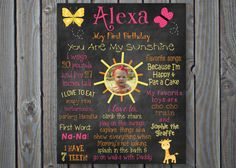 Printable You Are My Sunshine First Birthday by ChalkingItUpBoards, $30.00
