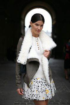 Shearling + short skirt!